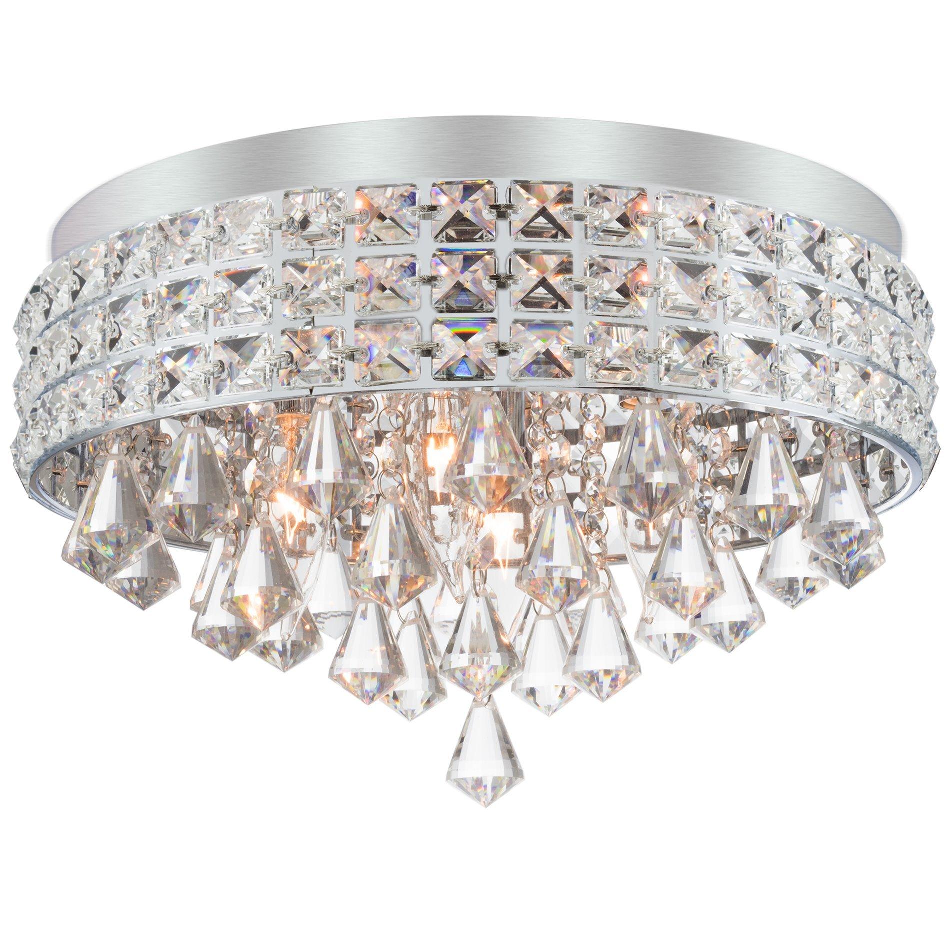Kira Home Gemma 15'' 4-Light Flush Mount Crystal Chandelier, Brushed Nickel Finish