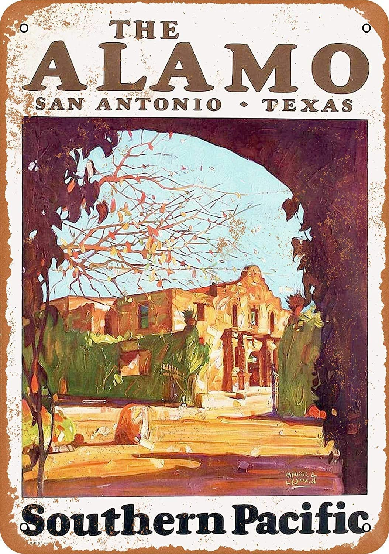 Vintage New Poster 1929 Southern Pacific Railroad to The Alamo San Antonio Texas Metal Tin Sign 8x12 Inch Retro Art Home Bar Pub Garage Cafe Office Wall Decor Classic Metal Plaque