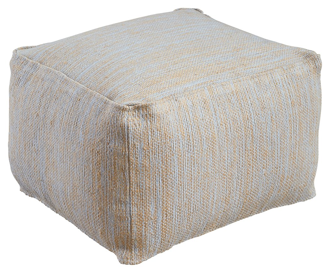 Ashley Furniture Signature Design - Damla Pouf - Comfortable Ottoman & Footrest - Natural/Blue