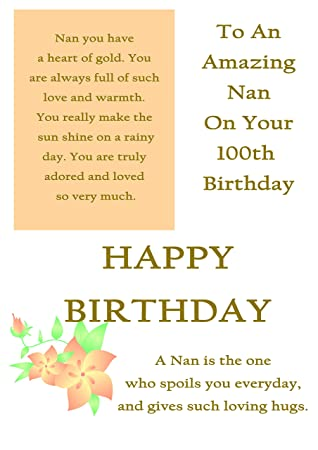Nan 100th Birthday Card With Removable Laminate