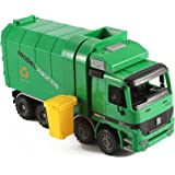 """14"""" Oversized Friction Powered Recycling Garbage Truck Toy for Kids with Side Loading and Back Dump"""