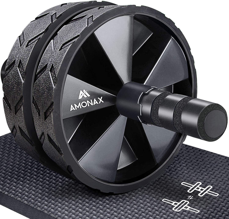 Amonax - Rodillo de rueda para abdominales con alfombrilla grande para ejercitar abdominales, doble rueda con modos de entrenamiento de fuerza dual en el gimnasio en casa