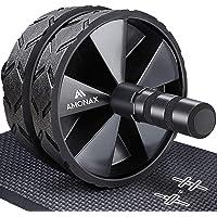 Amonax - Rodillo de rueda para abdominales con alfombrilla grande para ejercitar abdominales, doble rueda con modos de…