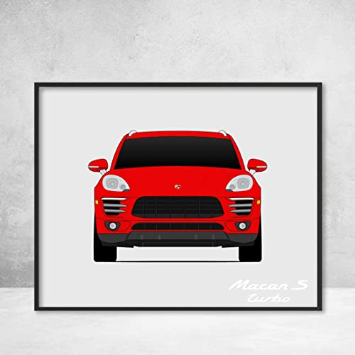 Porsche Macan Turbo S Poster Print Wall Art Decor Handmade Type 95B GTS