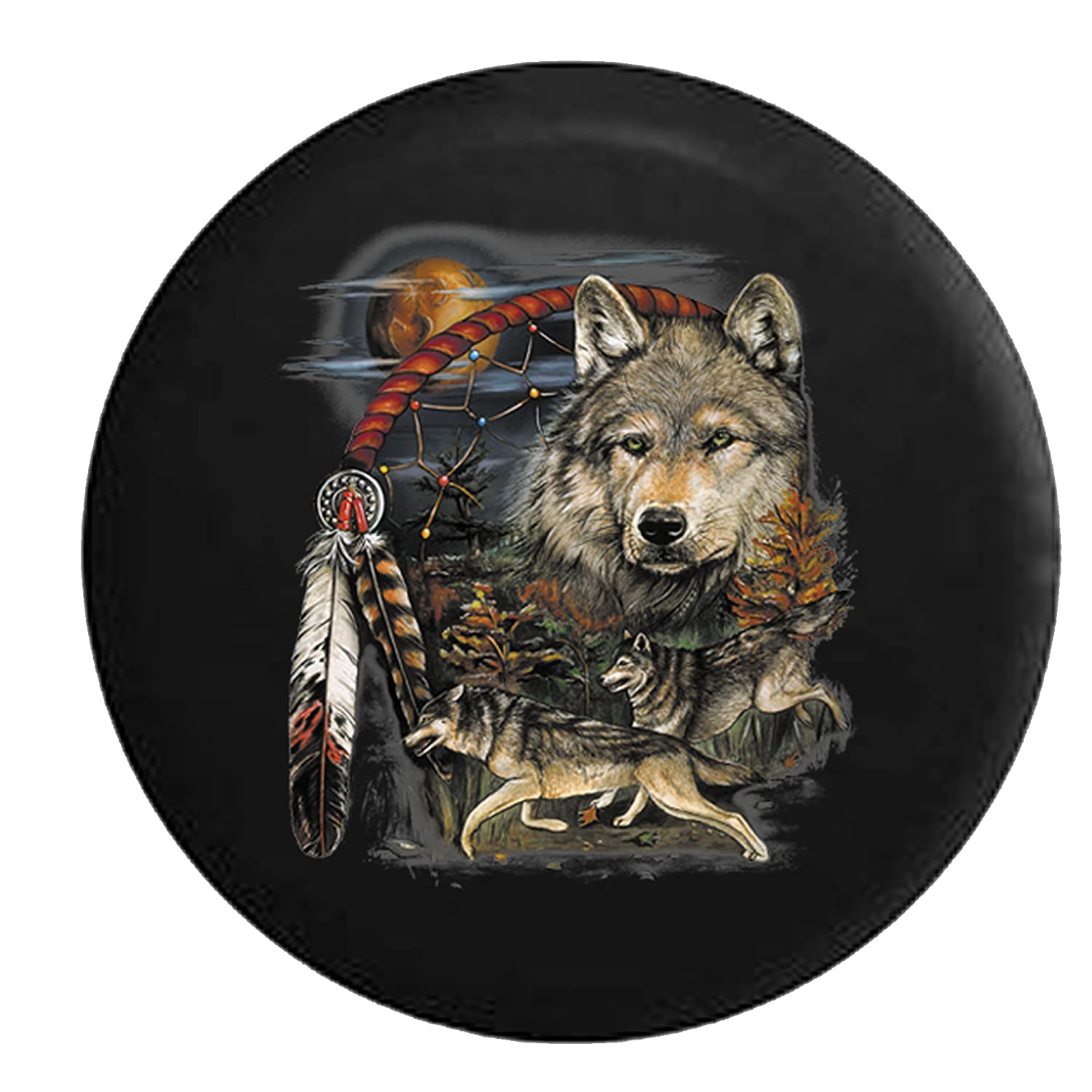 Native American Grey Wolves Dream Catcher at Sunset Spare Jeep Wrangler Camper SUV Tire Cover 33 in Silver Back Covers