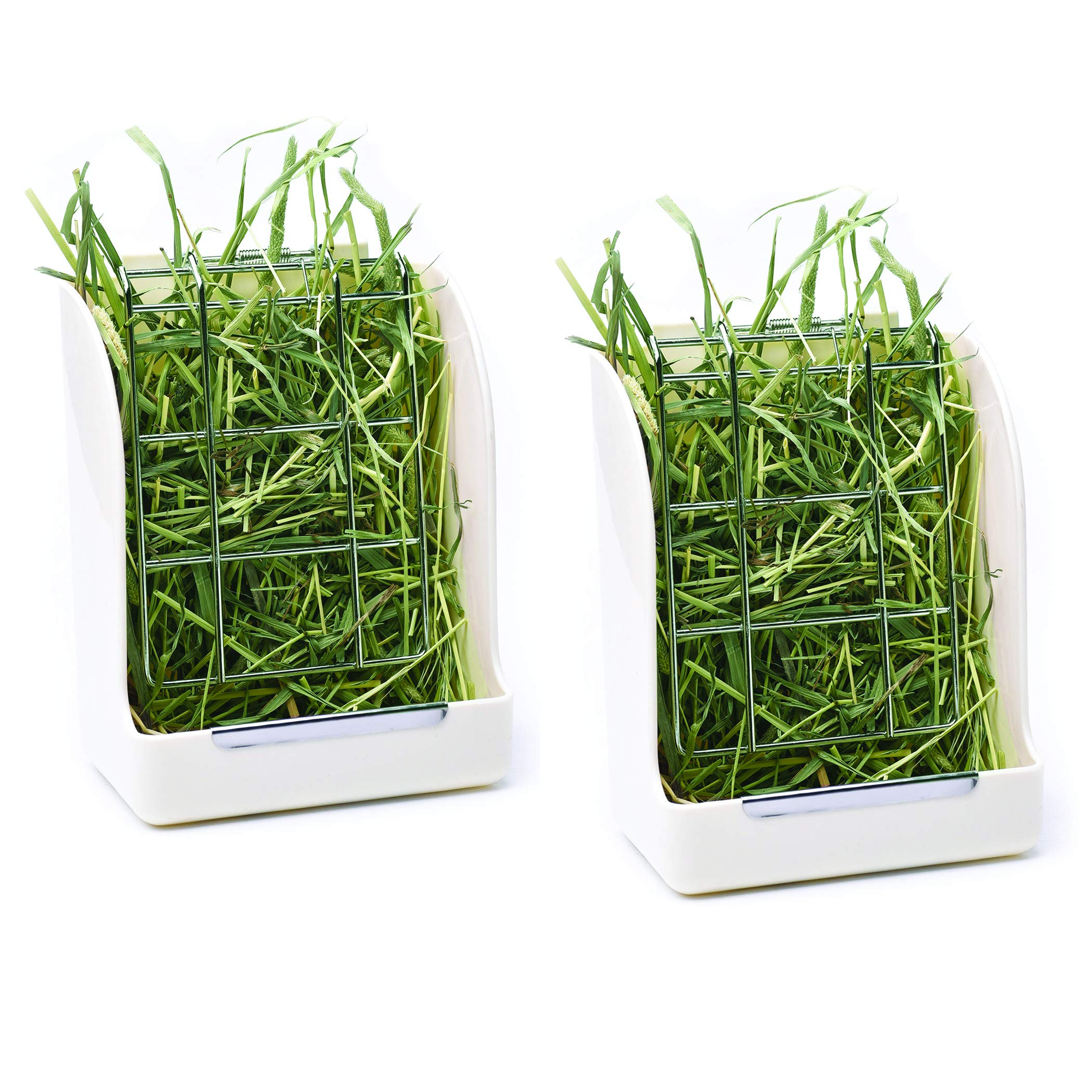 CalPalmy (2-Pack) Hay Feeder/Rack - Ideal for Rabbit/ChinChilla/Guinea Pig - Keeps Grass Clean & Fresh/Non-Toxic, BPA Free Plastic/Minimizing Waste/Mess