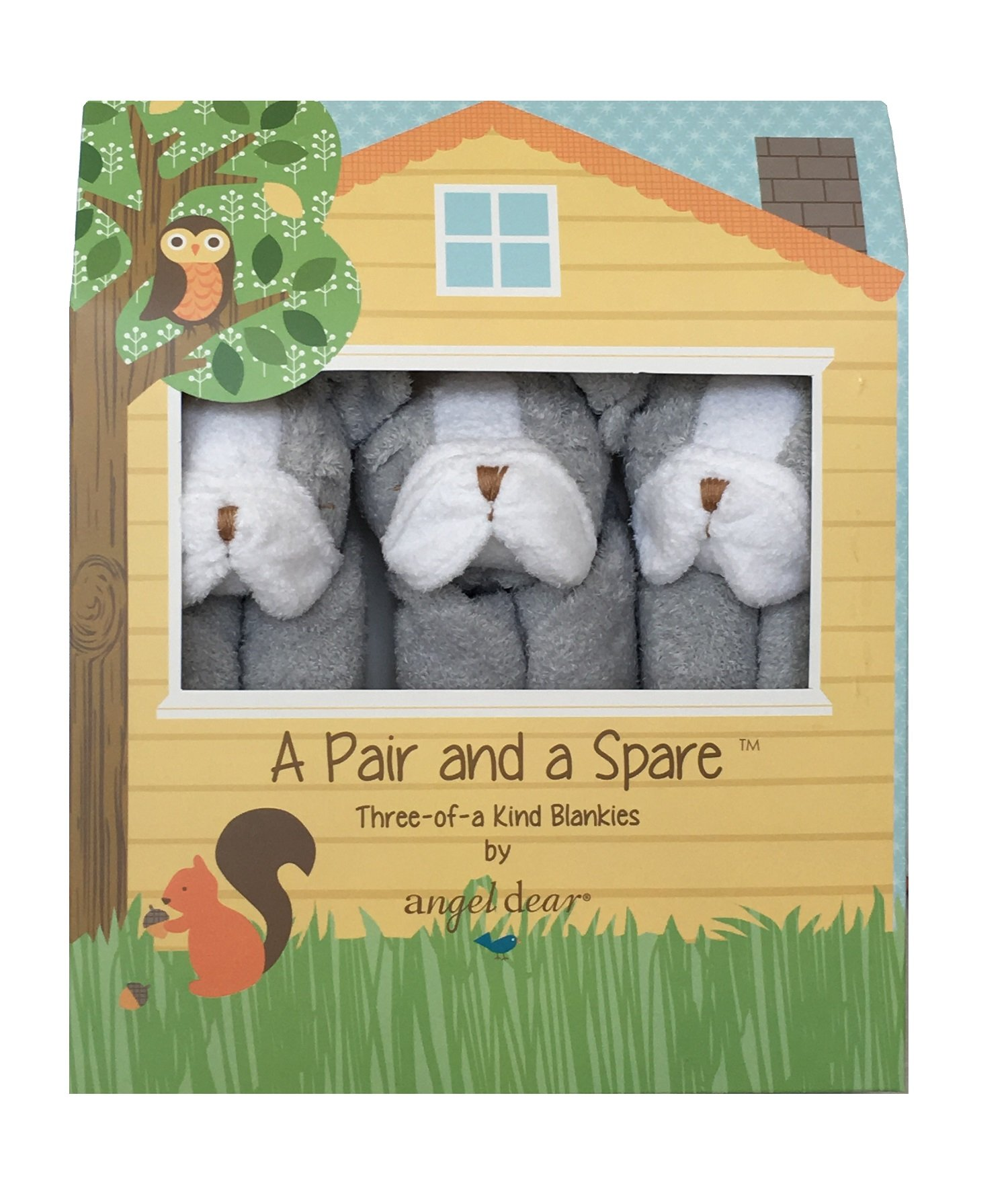 Angel Dear a Pair and a Spare 3 Pcs Blankets Gift Box, Grey BullDog