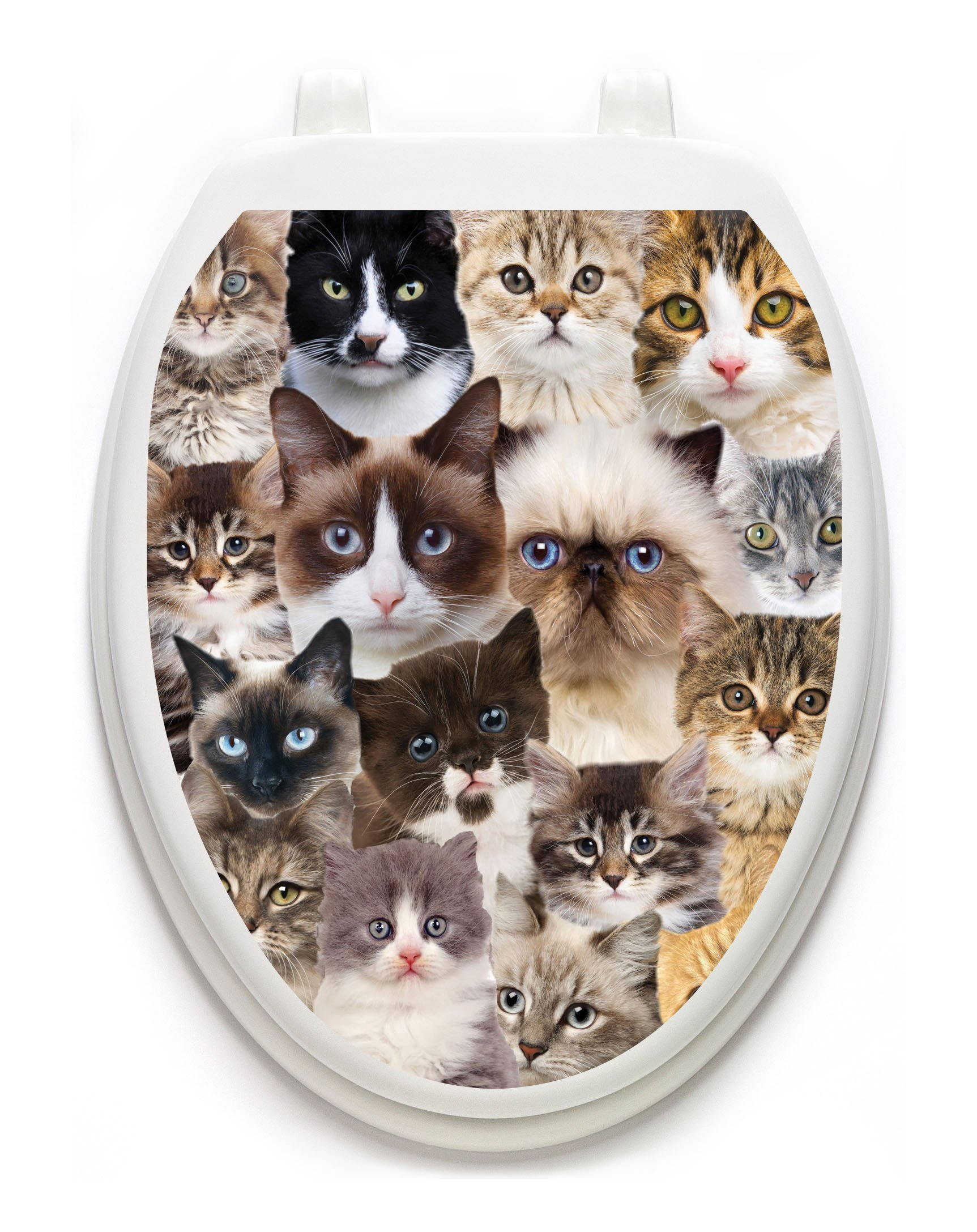 Toilet Tattoos, Toilet Seat  Cover Decal,Cats Galoret, Size Elongated