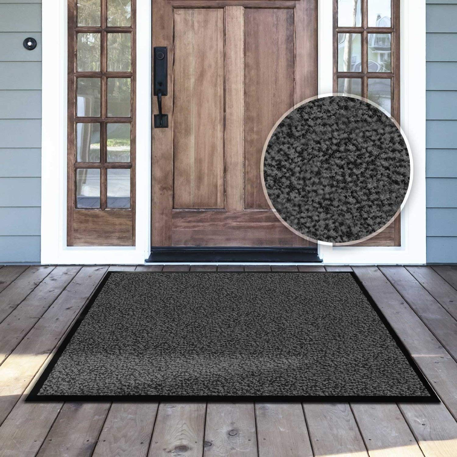 casa pura Carpet Entrance Mat, Gray (Mottled) 24'' x 36'' | Absorbent, Non-slip, Indoor/Outdoor (Multiple Sizes)