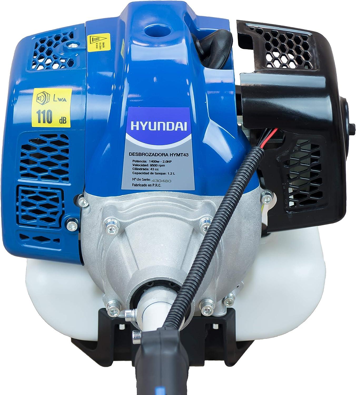 Hyundai HY-HYMT43 KIT Desbrozadora Multifunción 4 EN 1, Potencia Máxima 1.5 Kw, Cilindrada 42.7 cc, Azul: Amazon.es: Bricolaje y herramientas