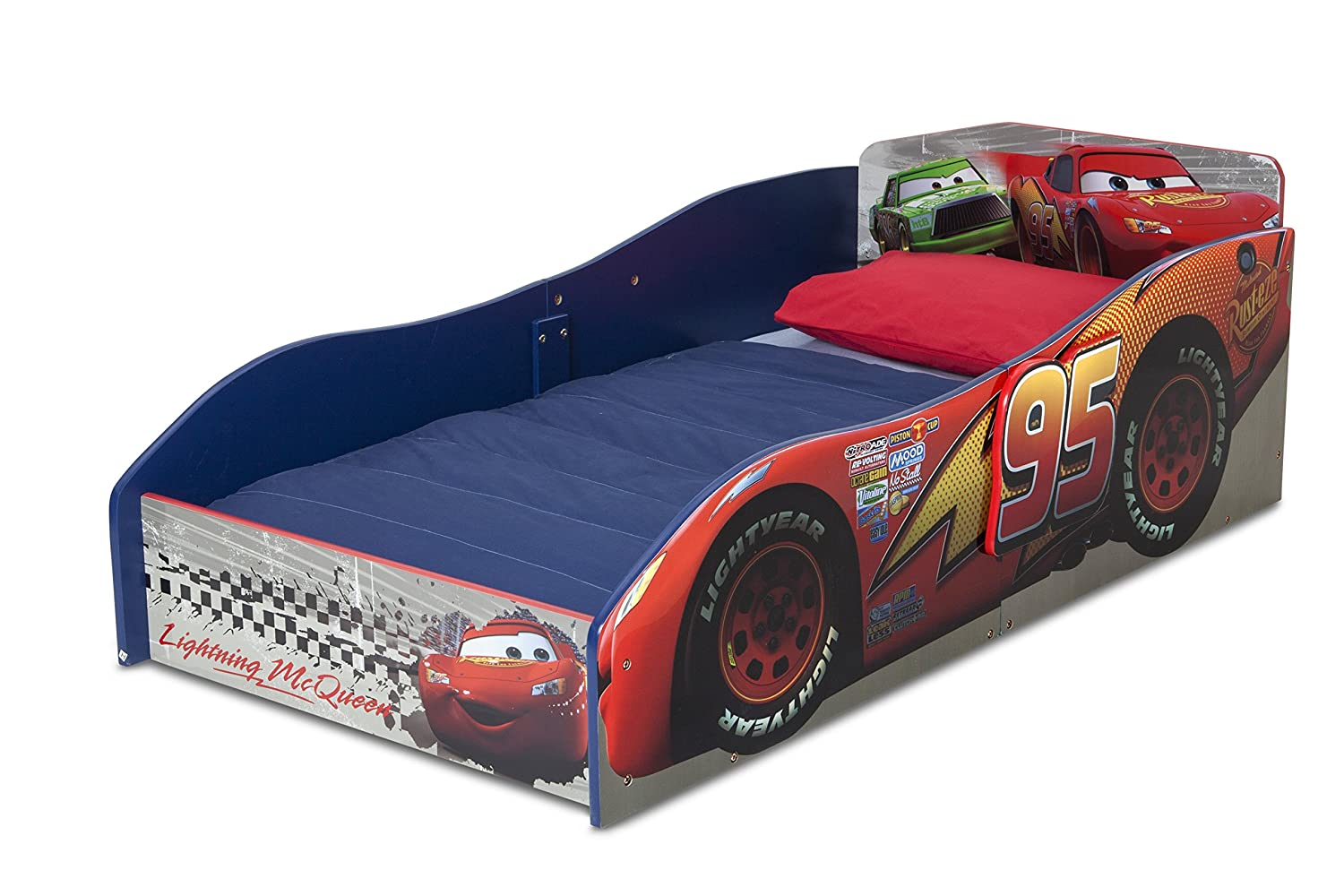 Lightning McQueen Children Wood Toddler Bed Disney Pixar Cars Bedroom  Furniture