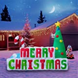 Holidayana Christmas Inflatable Giant 8 Ft. Merry Christmas Sign Inflatable Featuring Lighted Interior / Airblown Inflatable Christmas Decoration With Built In Fan And Anchor Ropes