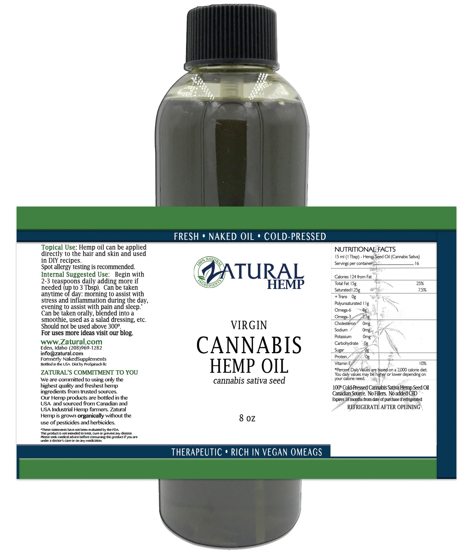 Hemp Oil-Cannabis Oil, 100% Pure Hemp Oil, Pure Therapeutic Grade (8 Ounce)