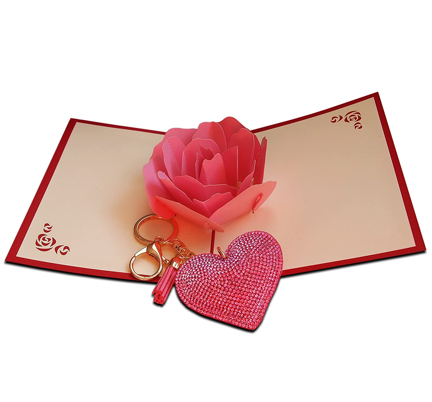 Big Pink Rose 3d Pop Up Greetings Card Set With Romantic Love Heart