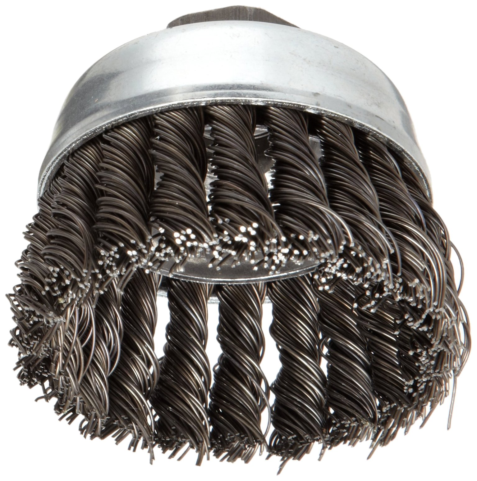 Weiler Vortex Pro Wire Cup Brush, Threaded Hole, Carbon Steel, Partial Twist Knotted, 3'' Diameter, 0.02'' Wire Diameter, 5/8''-11 Arbor, 14000 rpm (Pack of 1)