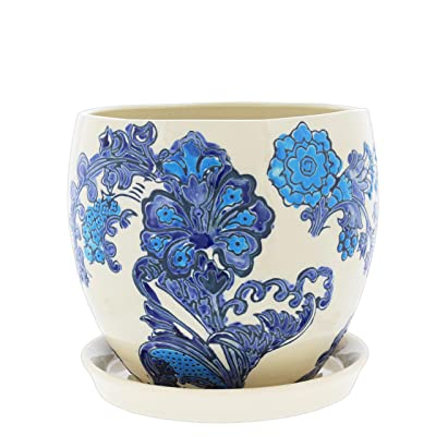"Lucky Winner Ceramic Planter with Floral Delft Pattern and Attached Saucer, 5"" : Garden & Outdoor"