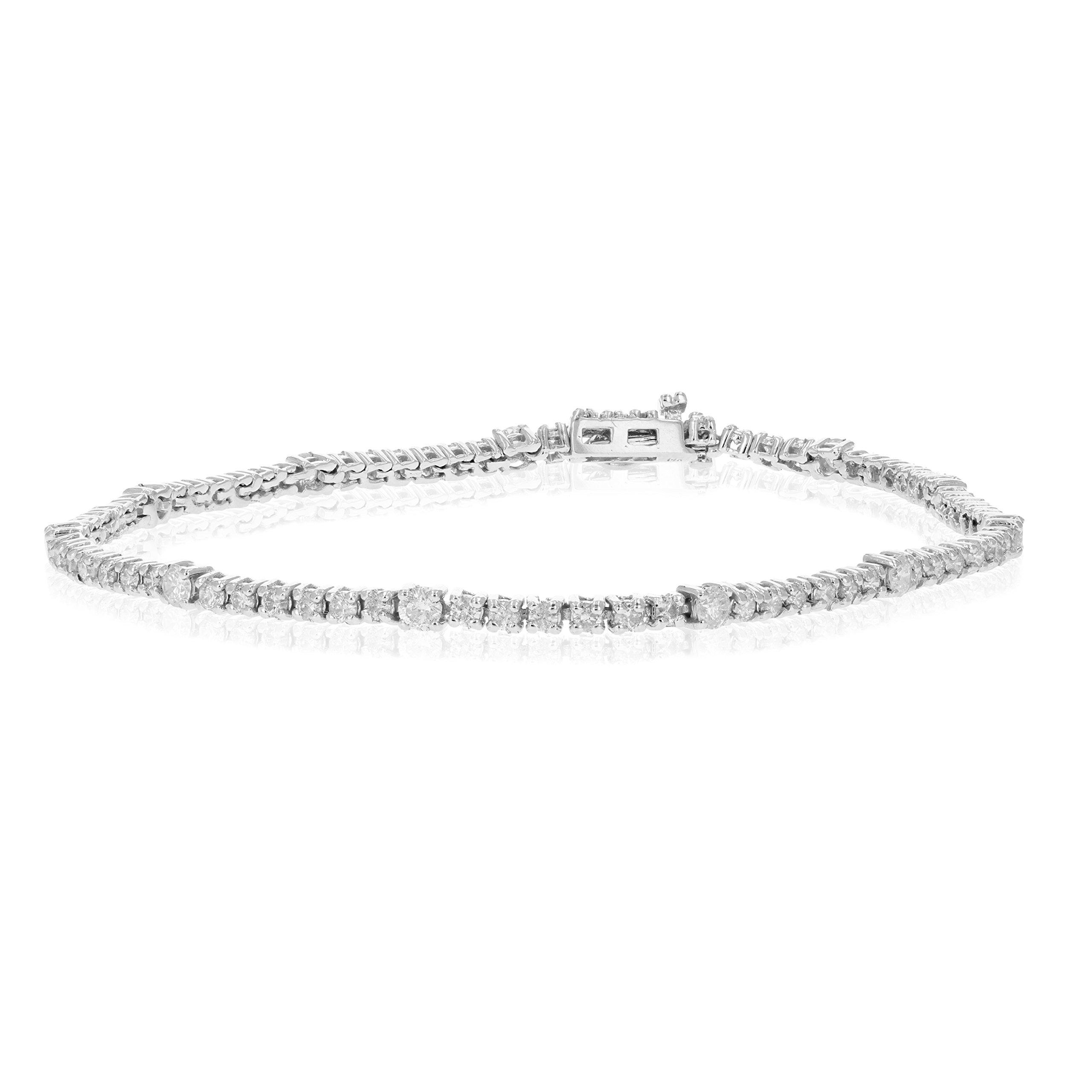 2 CT Diamond Bracelet Tennis Style 14K White Gold by Vir Jewels