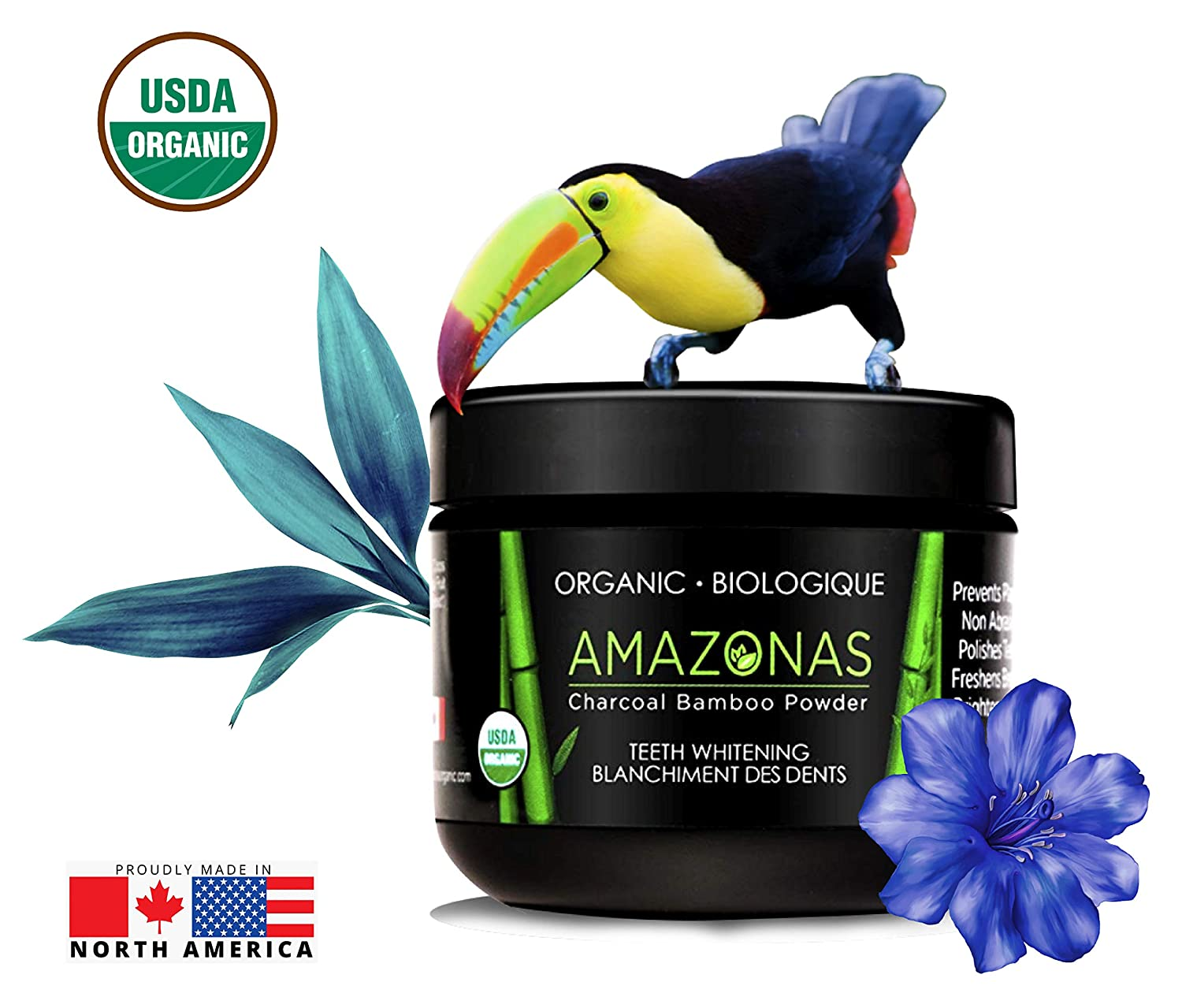 Amazonas Organic - Bamboo Charcoal Powder Kit - FREE Biodegradable Toothbrush & Jute Bag. Proven Natural Vegan Teeth Whitening, Safer than Activated Charcoal For Sensitive Teeth & Gums - USDA Certified & 100% Made in Canada.