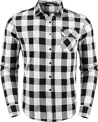 Sykooria Camisas a Cuadros de Franela para Hombre, Blusa de Manga Larga, Cuadros clásicos, Blusas con Estilo Casual, Ajuste Regular con Bolsillo en el Pecho