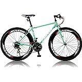 カノーバー クロスバイク 700C シマノ21段変速 CAC-025 (NYMPH) ディープリム グリップシフト フロントLEDライト付 [メーカー保証1年]