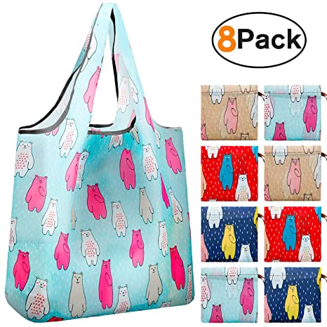 676a7bf2fda5 Reger Foldable Nylon Light Weight Compact Grocery Shopping Bags Reusable &  Machine Washable Fits in Pocket Eco Friendly Bear(Cute-Bear Prints, Pack of  ...