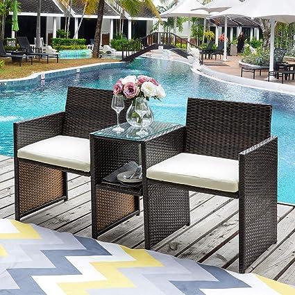 Peachy Amazon Com Patio Glider Chair Outdoor Grey Julyfox Wicker Machost Co Dining Chair Design Ideas Machostcouk