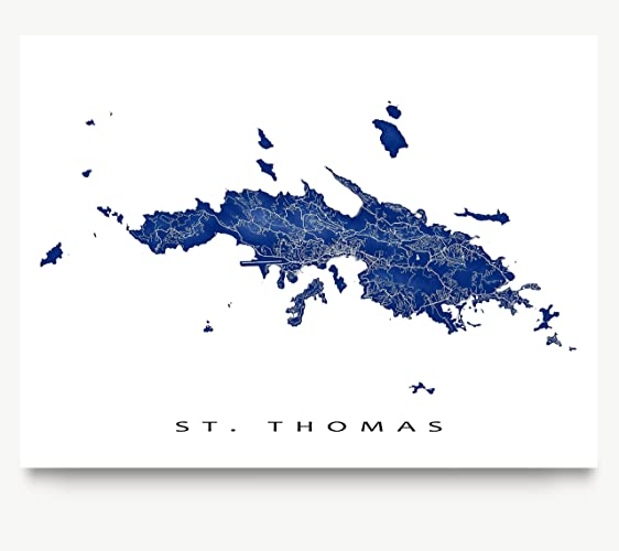st thomas map art print us virgin islands usvi caribbean island artwork