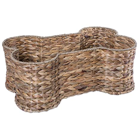 Pet Supplies : Bone Dry DII Small Hyacinth Bone Shape Storage Basket ...