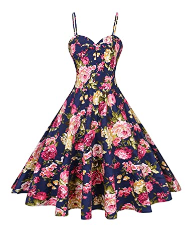 VOGTORY Women's Plus Size Summer Floral Strap Sundress Beach Slip Dress Short Braces Skirt -  Price:$16.99 - $27.99 & Free Return on some sizes and colors