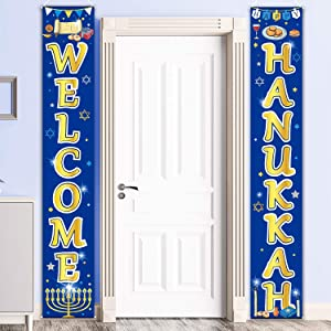 Hanukkah Decoration Set Chanukkah Porch Sign Welcome Banner Garland for Hanukkah Party Decoration Xmas Winter Snow Party (Blue Hanukkah)