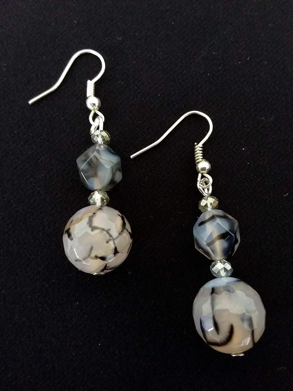 Traduci da: Inglese 1080/5000 Pendientes gris azul - piedras semipreciosas - ágata de fuego - pendientes colgantes - idea de regalo hecho a mano para mujer