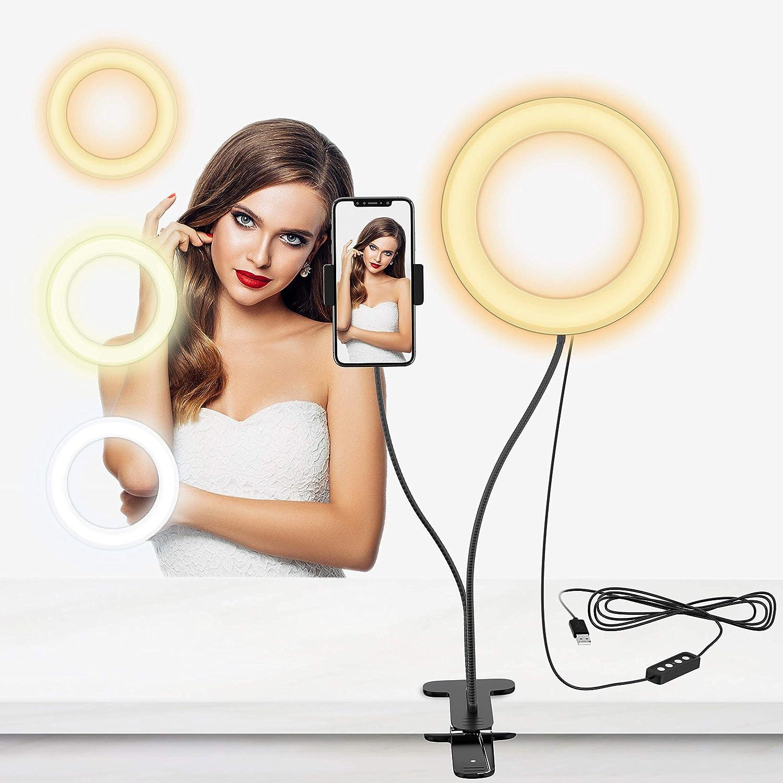 Selvim Anillo de Luz LED, Aro de Luz Fotográfica con Soporte para Móviles de Brazo Flexible a 360°, 3 Modos de Luz y 10 Brillos, 6