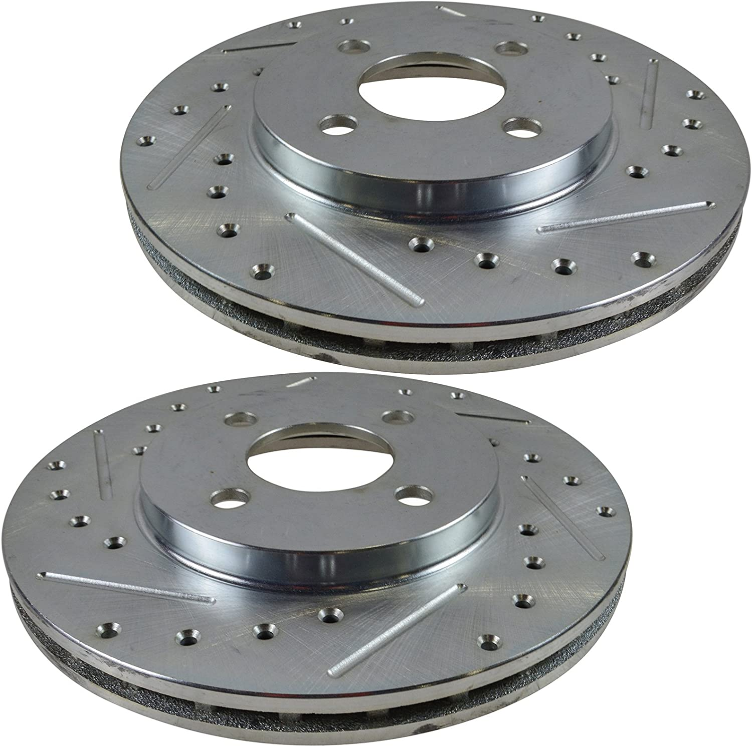 Front Performance Drilled Slotted Zinc Coated Disc Brake Rotor Pair New