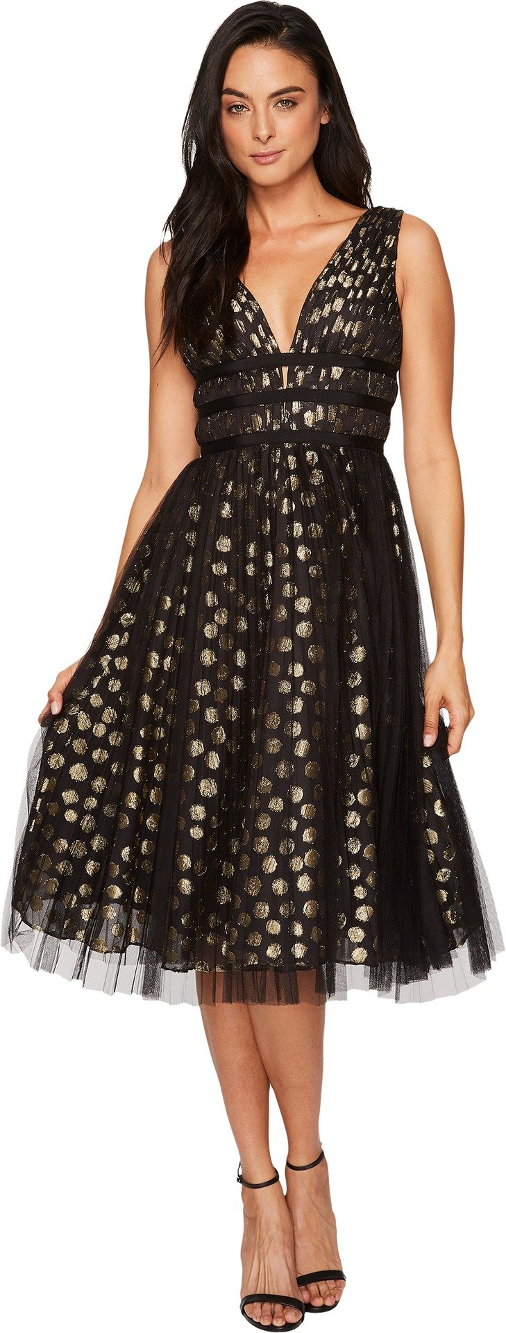 Adrianna Papell Women's Metallic Clip Dot Cocktail Dress, Gold/Black, 12