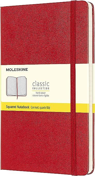 Oferta amazon: Moleskine - Cuaderno Clásico con Páginas Cuadriculada, Tapa Dura y Goma Elástica, Color Rojo Escarlata, Tamaño Grande 13 x 21 cm, 240 Páginas