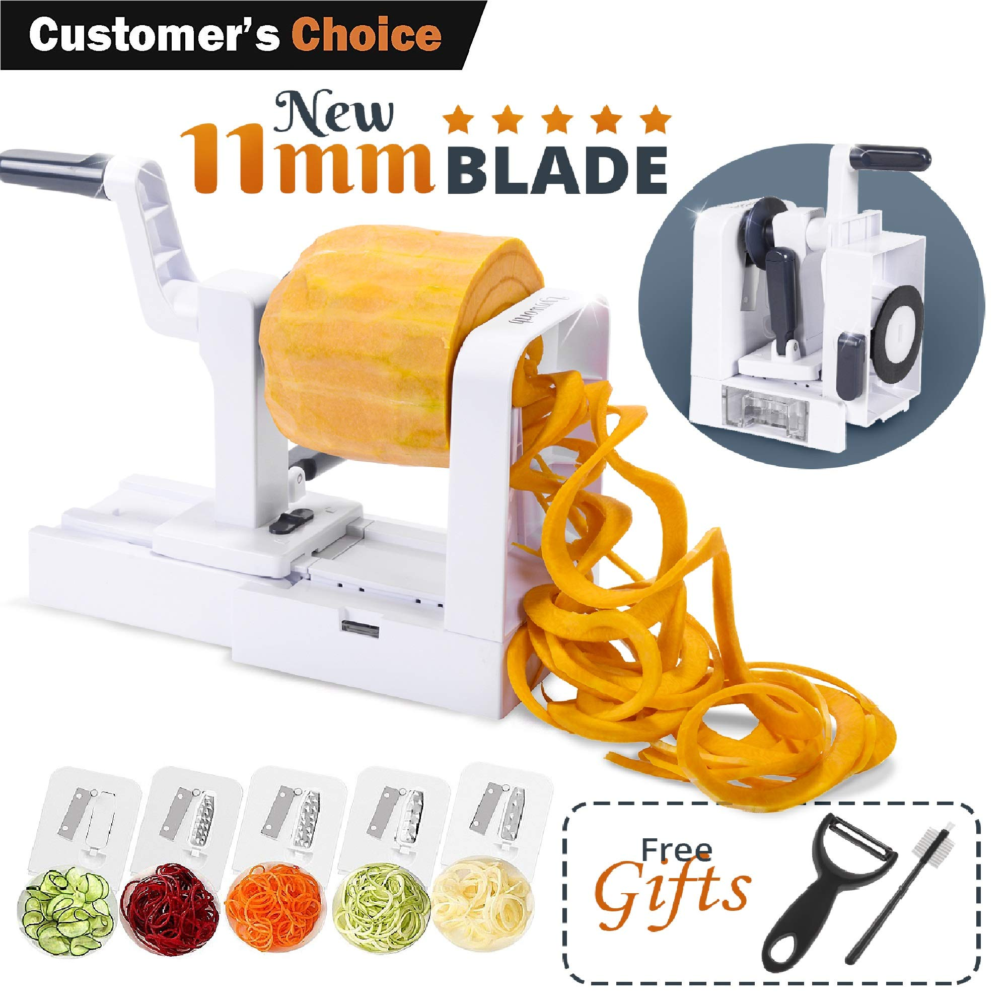 Lynworth Compact Foldable 5-Blade Vegetable Spiralizer: Best Spiral Slicer, Heavy duty Veggie Spaghetti Pasta Zoodle Maker for Healthy Low Carb/Paleo/Gluten-Free Meals With Extra 2 Gifts