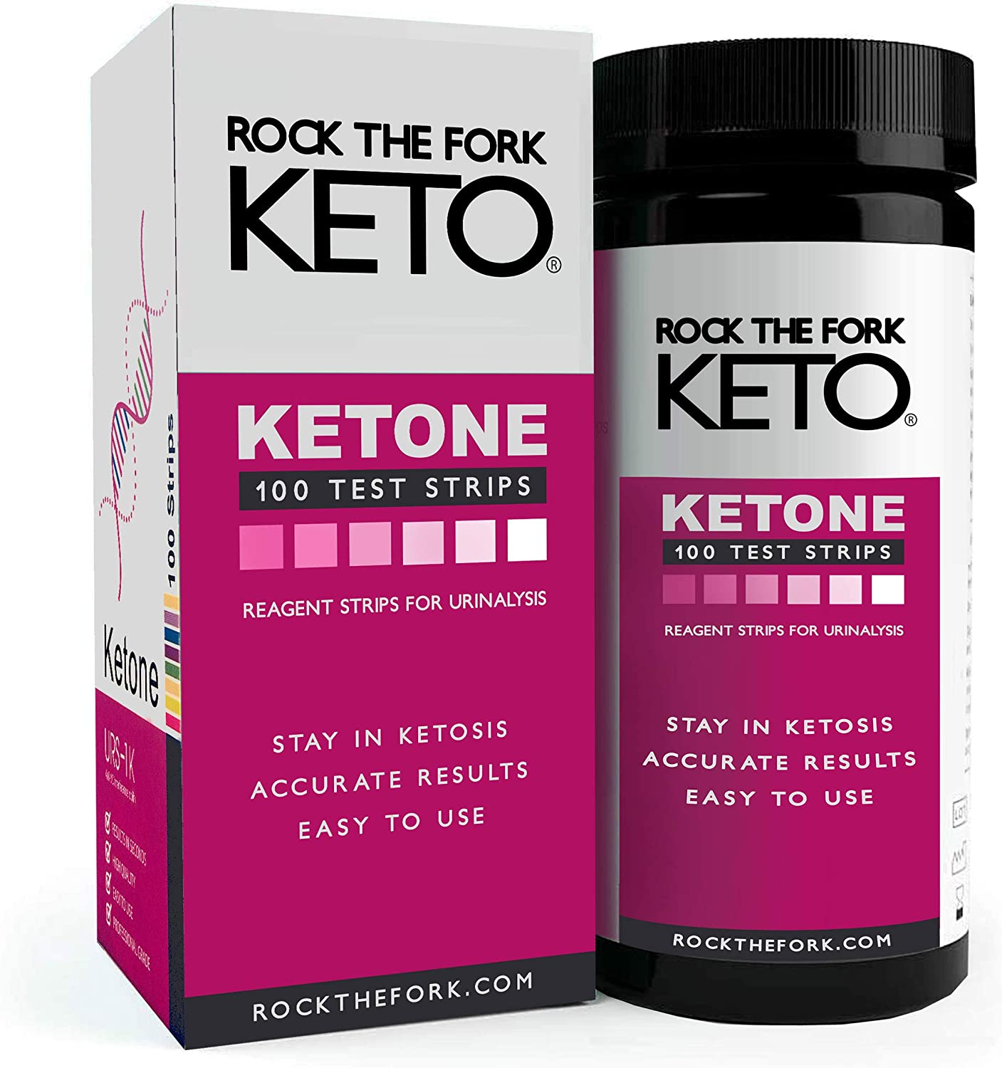 Rock the Fork Keto – Ketone Test Strips –Ketosis Testing for Low-Carb Ketogenic, Adkins, or PSMF Diet. Easy-to-Use Urinalysis Kit. Includes: 100 Sticks