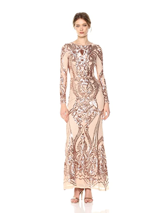 f02b6d385bc Betsy   Adam Women s Long Sleeve Sequin Gown at Amazon Women s Clothing  store