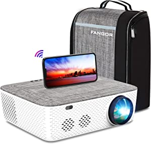 WiFi Projector Native 1080P Projector, FANGOR 701 Video Projector Bluetooth/Full Sealed Design/Digital Keystone/300 Display/50%Zoom 7800Lux Movie Projector Support 4K, for phone/PC/XBox/PS4/TV Stick