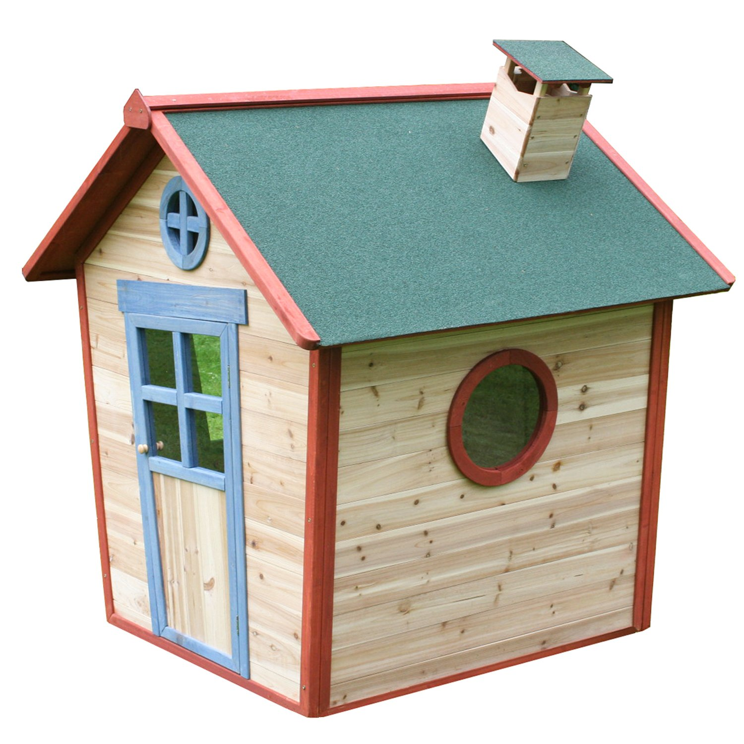 Redwood Lodge Childrens Wooden Playhouse, Painted Garden Crooked Wendy Play House, Thicker Fir Wood, 5 x 4 Big Game Hunters