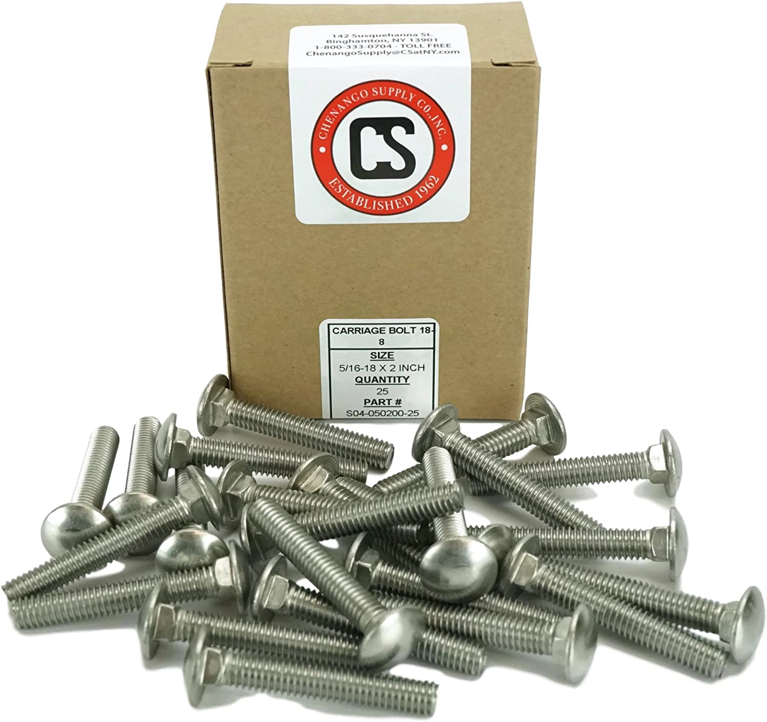 Stainless 5//16-18 x 1-1//2 Carriage Bolt 18-8 Stainless Steel,25 Pieces 1 to 5 Lengths Available in Listing 5//16-18x1-1//2
