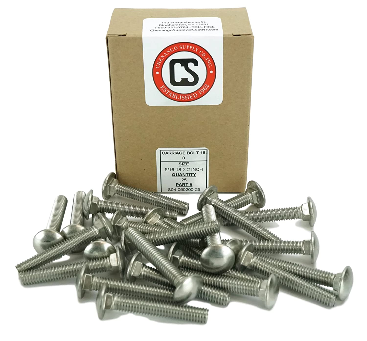 5//16-18x2 Stainless 5//16-18 x 2 Carriage Bolt 18-8 Stainless Steel,25 Pieces 1 to 5 Lengths Available in Listing Chenango Supply