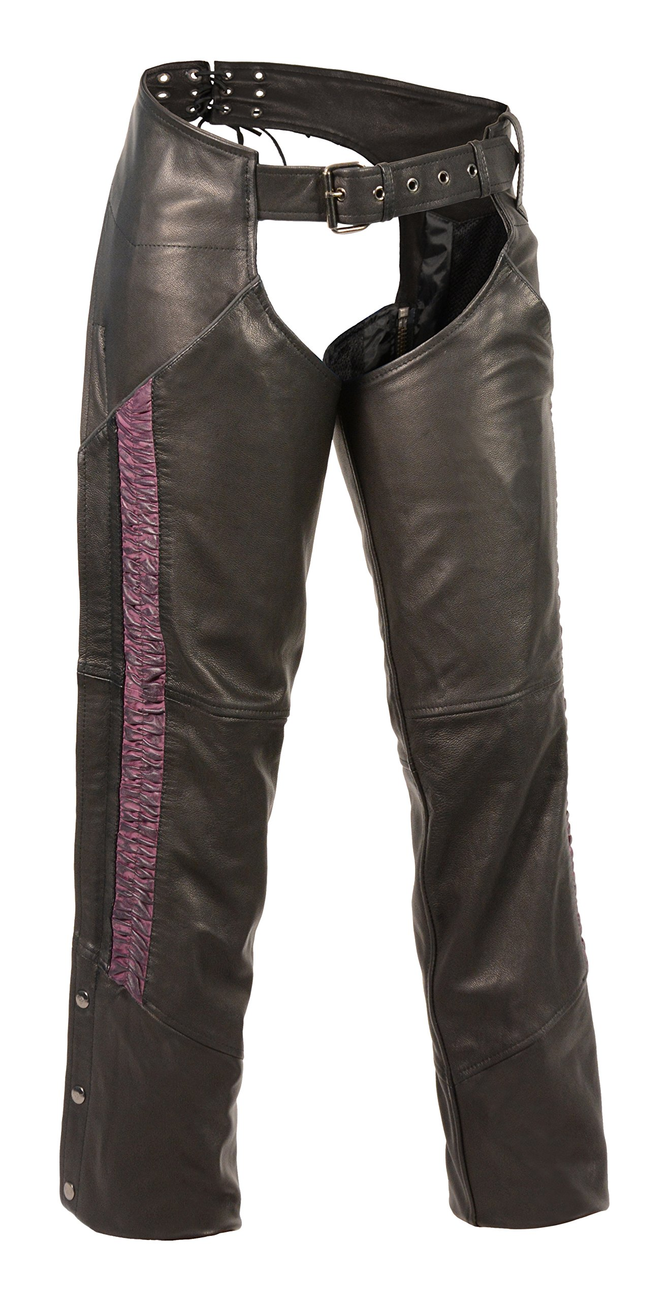 Milwaukee Leather Women's Lightweight Chap with Crinkled Leg Striping (Black/Purple, 4X-Large)