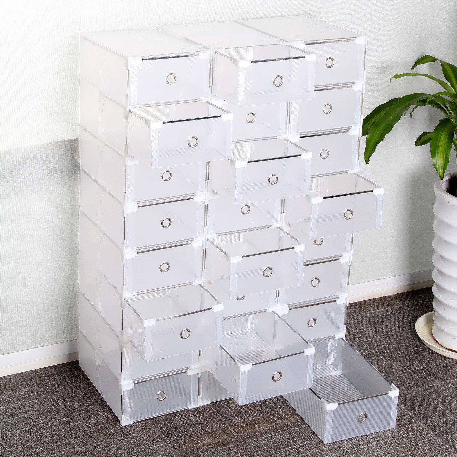 MultiWare 24Pcs Shoe Boxes Storage Transparen Drawer Plastic Foldable Stackable
