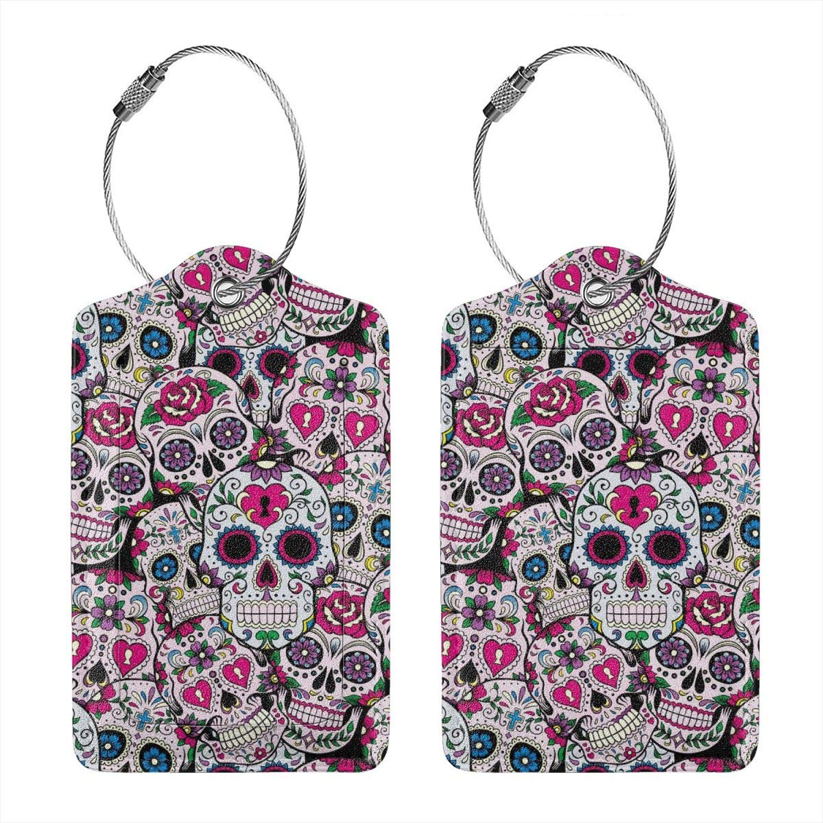 Sugar Skull Mexican Tradition Luggage Tag Label Travel Bag Label With Privacy Cover Luggage Tag Leather Personalized Suitcase Tag Travel Accessories