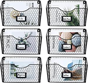 PAG 6 Pockets Hanging File Holder Wall Mount Mail Organizer Metal Chicken Wire Magazine Rack with Tag Slot, Black