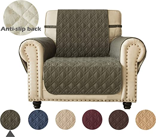 Stay in Place 23, Sand Ameritex Waterproof Nonslip Chair Cover for Leather Ideal Chair Slipcovers for Pets and Kids Dog Chair Cover Furniture Protector