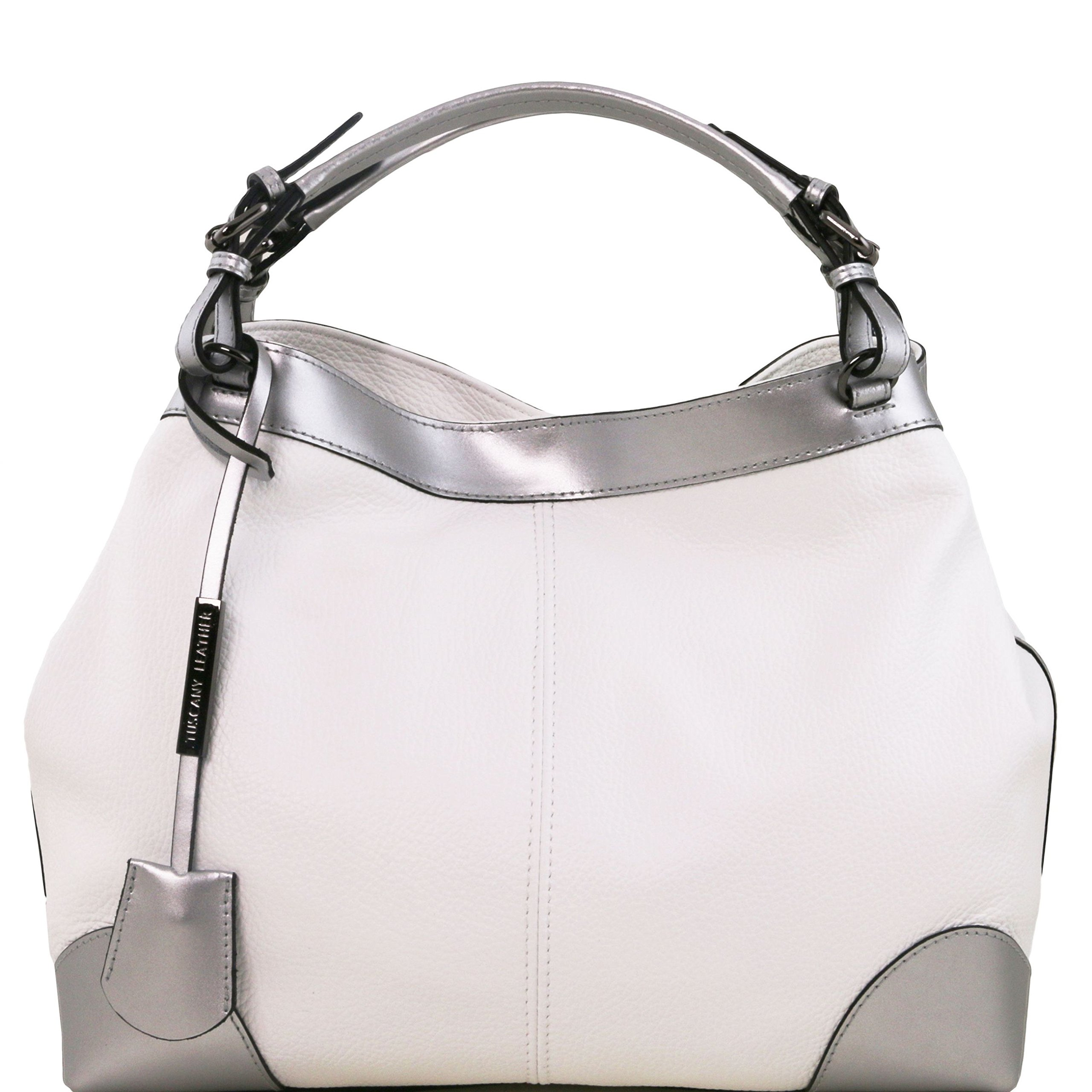 Tuscany Leather Ambrosia Soft leather bag with shoulder strap White