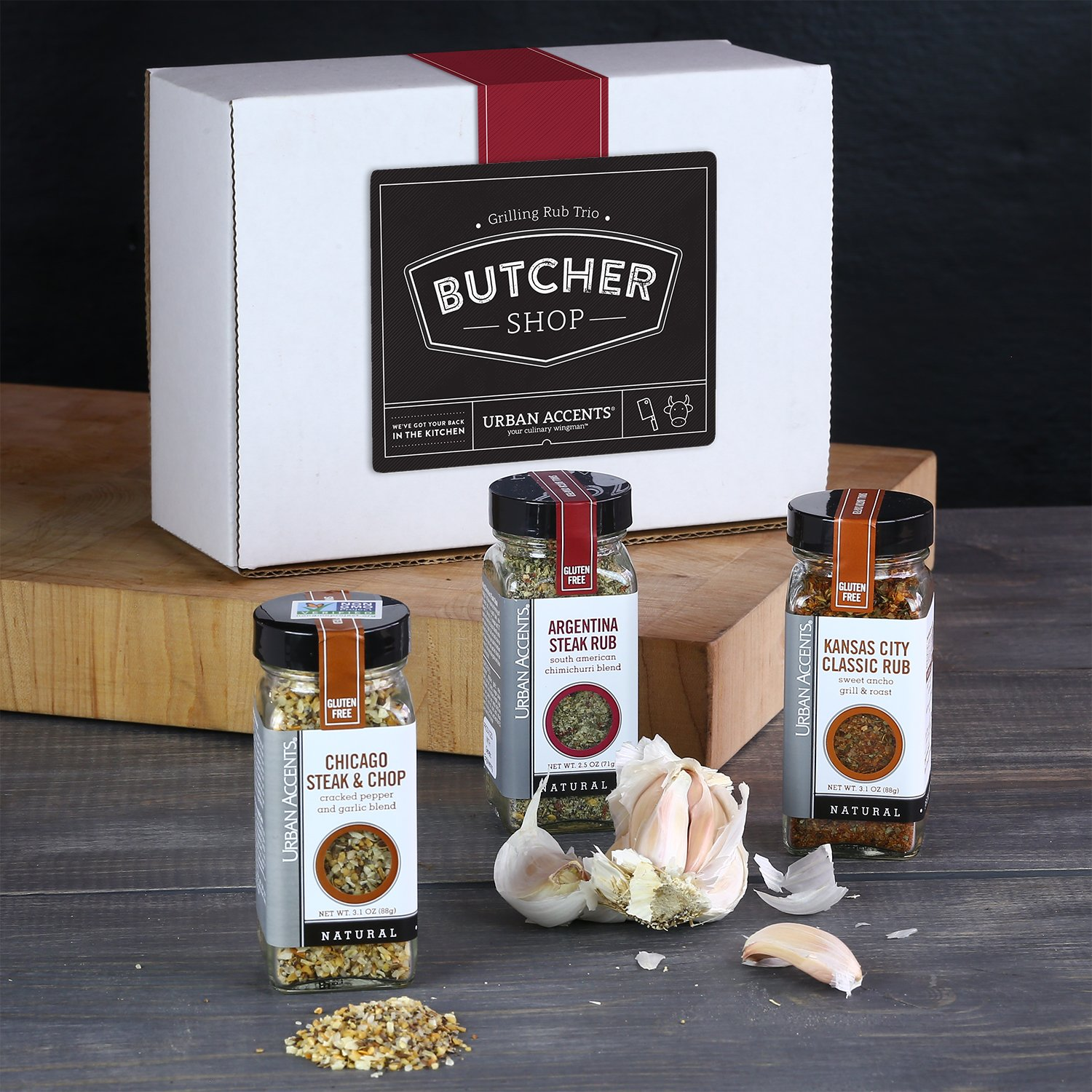 BUTCHER SHOP, A Gourmet Grilling Rub Trio of Spices Gift Set, Perfect for Weddings, Housewarmings or Any Occasion - Urban Accents by Urban Accents (Image #4)