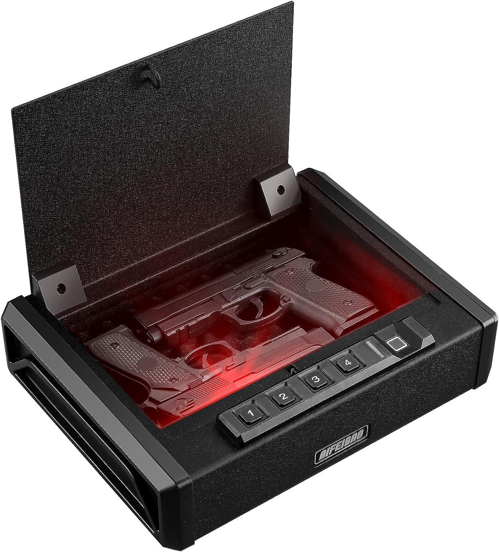 AIFEIBAO Gun Safe for 2 Pistols, Quick Access Safety for Home, Fingerprint Gun Safe Gun Ammo Case Box with Auto Open Lid Smart Biometric Acess Keypad Key Access Silent Mode